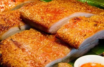 21626135 - close up crispy pork for background